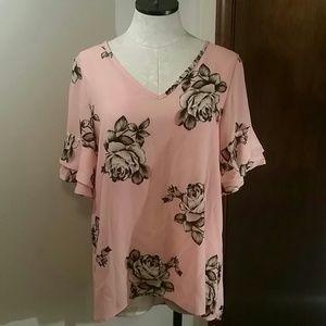 Lara Fashion Pink With Flowers Shirt